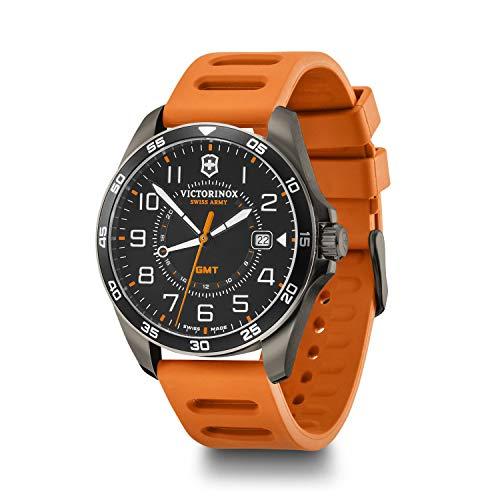 Victorinox FieldForce Sport GMT Orologio da uomo Swiss Made in nero con cinturino in silicone arancione 241897