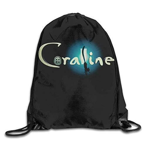 JHUIK Drawstring Bag Backpack,Coraline Fashion Sac à Dos Design épaule Sac à Cordon Homme Femme Sacs Taille Unique