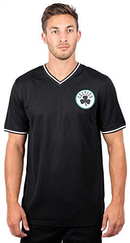 Ultra Game NBA Boston Celtics Mens Jersey V-Neck Mesh Short Sleeve Tee Shirt, Black, Large
