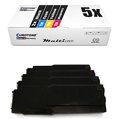 5x Eurotone XXL Toner Cartridge for Dell C 3760 3765 dn dnf n replaces Black Cyan Magenta Yellow