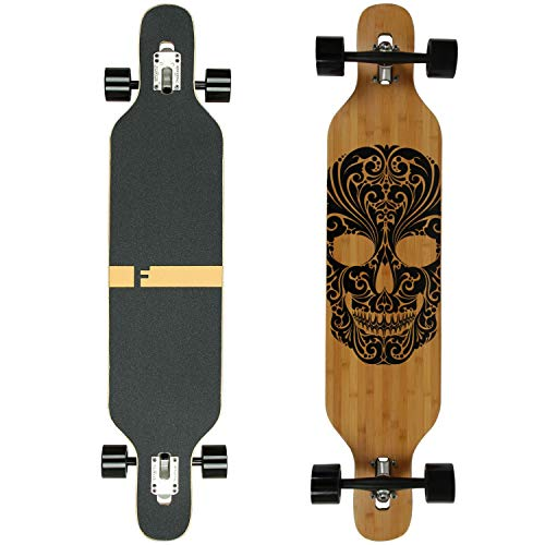 FunTomia Longboard Skateboard Drop Through Cruiser Komplettboard mit Mach1 High Speed Kugellager T-Tool mit und ohne LED Rollen (Mod. Camber - Bambus Mexican)