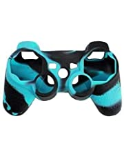 OSTENT Funda de piel de silicona camuflaje cubierta compatible para Sony PS2 / 3 inalámbrico / controlador con cable - Color azul hielo