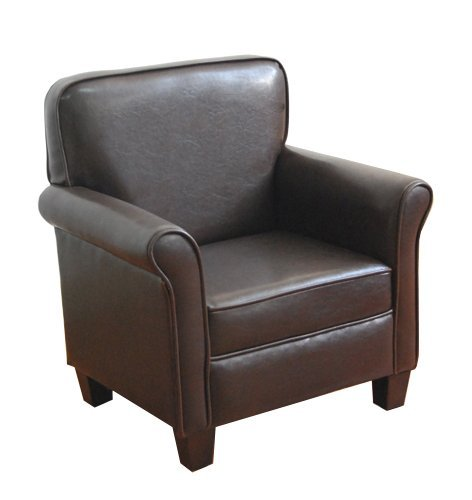 HomePop Youth Wing Back Chair, Dark Brown Faux Leather (Renewed)