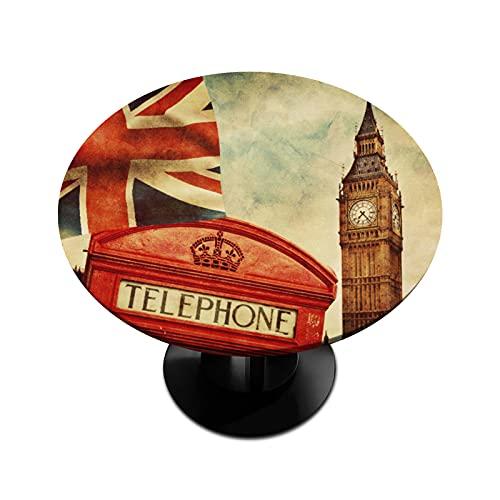 BOLOLI London Big Ben - Mantel redondo con bordes elásticos, diseño de bandera del Reino Unido, resistente al agua, para comedor, interior, exterior, patio, mesa de hasta 114 cm - 142 cm de diámetro