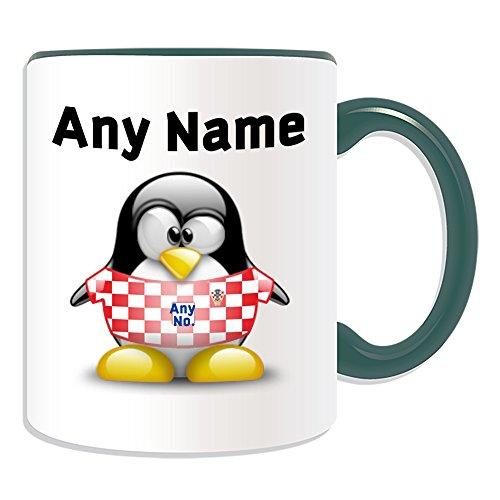 Gepersonaliseerd geschenk - Kroatië Nationale Mok (Penguin Football Team Design Thema, Kleur) Naam/nummer op uw Unieke - FC Kit Shirt Jersey Strip Vatreni De Blazers Peter Miranda Svaic Kroatische CRO Groen