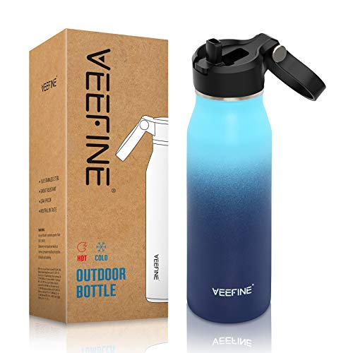 VEEFINE Insulated Water Bottle with Straw Lid 20/32/40oz Dishwasher Safe 18/8 Stainless Steel Water Bottle BPA-Free for Hiking Camping Yoga and Gym