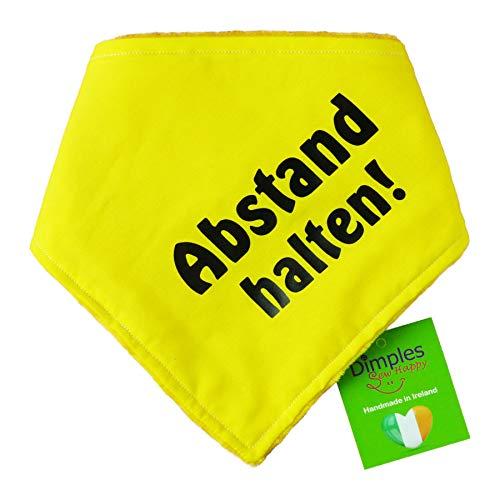 Dimples Hundehalstuch Gelb - Abstand Halten - Bitte Hund Nicht anfassen -Warn Halstuch für kleine mittlere und Grosse Hunde, die nervös, ängstlich, läufig, bissig oder in Ausbildung sind 25cm