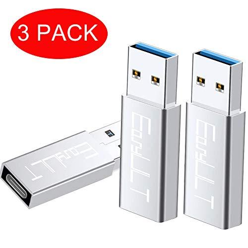 EasyULT USB C Adapter auf USB 3.0[3 Stück], Mini Adapter USB C Buchse auf USB 3.0, USB Typ C Adapter für Huawei P9/P10 Mate20, Galaxy S9/S8plus Note9/8 usw. (Silber)
