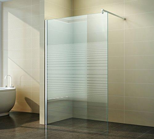 Duschabtrennung Walk in Gestreift - Schicke Duschwand freistehend aus Glas für maximale Flexibilität, Freiraum & Komfort in ihrem Badezimmer - 10mm ESG, Breite:110 cm