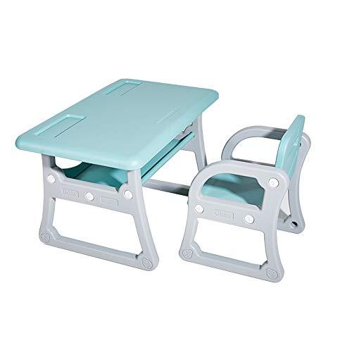 Zacheril Mesa de Niños Tabla con sillas Set de Juegos for Dibujo Lectura Niños Pintura Mobiliario Infantil (Color : Blue, Size : 79x50/52x39.5cm)