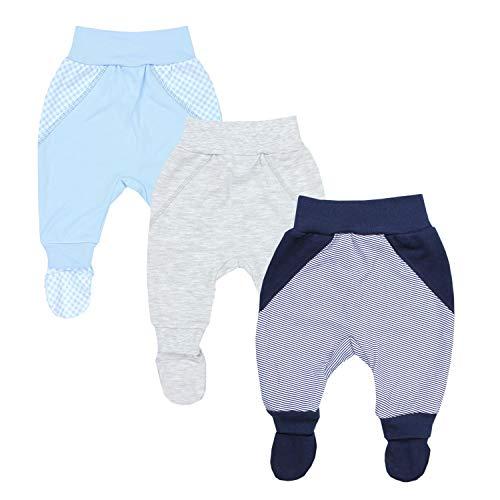 TupTam Baby Jungen Strampelhose mit Fuß 3er Pack, Farbe: Farbenmix 1, Größe: 56