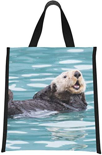 Bolsa de almuerzo para mujeres, linda y divertida nutria flotante en el río, suave, enfriador, bolsa de almuerzo, enfriador con aislamiento, bolsa de almuerzo, reutilizable, plegable, mantie