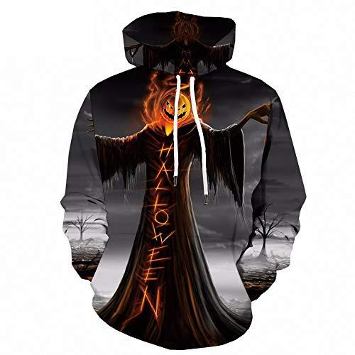 SHUAIFA - Sudadera con capucha, diseño de calabaza, 3D, unisex, con bolsillos