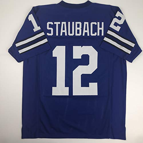 Unsigned Roger Staubach Dallas Blue Custom Stitched Football Jersey Size Men's XL New No Brands/Logos