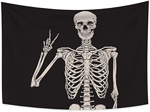 Tapiz Art Paño para colgar en la pared Impresión HD Cocina Dormitorio Sala de estar Decoración,Cráneo blanco y negro divertido Victoria Rock Roll signo esqueleto Boho Hippie arte bohemio cartel d
