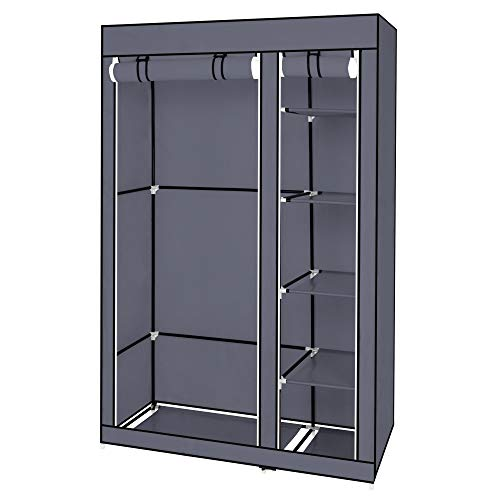 67' Portable Clothes Closet Wardrobe with Non-Woven Fabric and Hanging Rod Quick and Easy to Assemble Gray