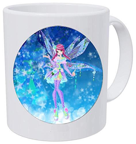 bab Collar con colgante de dibujos animados para niños, regalo para mujer, cristal mágico, 2 tazas de café