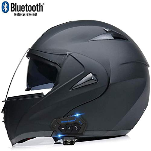 Actoor Bluetooth Integrated Motorcycle Helmets DOT ECE Certification Full Face Flip Up Modular with Dual Visors Motorcross Helmets Built-in Speaker Headset Microphone for Unisex