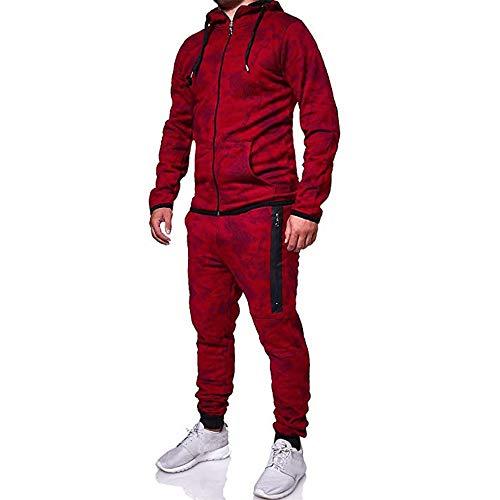 Aiserkly Herren Trainingsanzug Jogginganzug Sportanzug Streetwear Jogger Hausanzug Herbst Drucken Sporthose+Hoodie Warm Tracksuit Rot XL