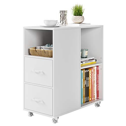 HOMECHO Beistelltisch Sofatisch Wohnzimmertisch auf Rollen Kaffeetisch mit 2 Schubladen für Wohnzimmer Schlafzimmer Arbeitszimmer Speisekammer Weiß 60 * 30 * 65cm