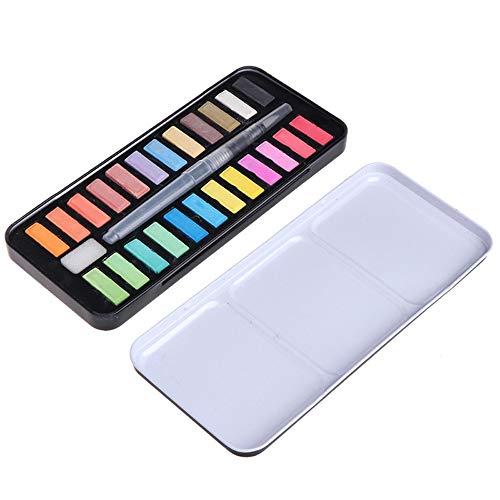 MZY1188 12/18/24 Colores Conjunto de Pintura de Acuarela sólida portátil, Pintura al óleo Kit de pigmentos de Color de Agua con Pincel Suministros de Arte para Principiantes