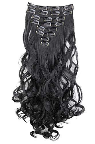 PRETTYSHOP XL 45cm 7 Teile Set CLIP IN EXTENSIONS Haarverlängerung Haarteil Voluminös Gewellt Schwarz CE1-1