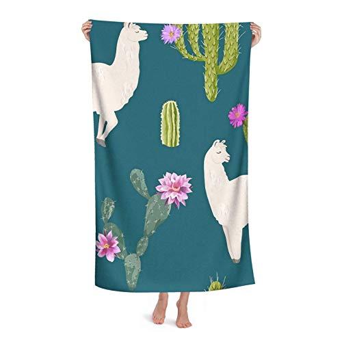 Toalla Llama Y Cactus Toallas De Secado Rápido Diseños De Moda Towels Súper Absorbente Toallas De Baño por Mujer Hombre Hogar 80X130 Cm
