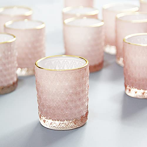 SHMILMH Pink Glass Candle Holder with Gold Rim Set of 24, Tealight Holders Bulk, Votive Candle Holders, Tea Candle Holder for Table Centerpiece, Wedding, Birthday Decoration, Home Decor
