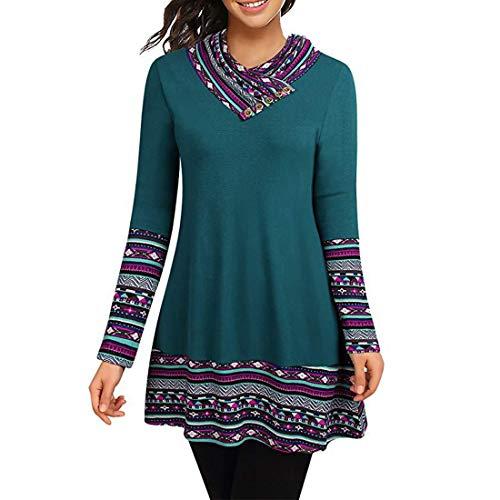 Elegante blusa de manga larga para mujer Camisa estampada con bloques de color de primavera y otoño en estilo...