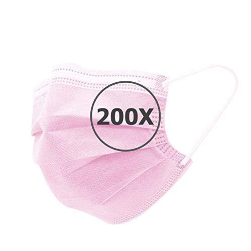 TBOC Mascarilla Higiénica No Reutilizable -  [Pack 200 Unidades] [Color Rosa] Antipolen Antipolvo Ligera Suave y Transpirable [Desechables] con Pinza Nasal Protección Facial [Alta Filtración]