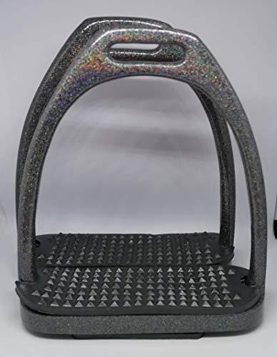 Steigbügel Glamour, mit Glitter/Glitzer 12 cm, Black schwarz
