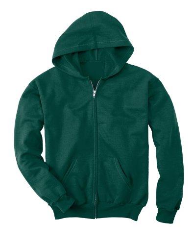 Hanes Boys' Big EcoSmart Full Zip Hooded Jacket, Deep Forest, Medium