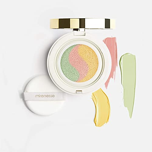 Mirenesse Cosmetics Tone Correcting Primer - 10 Collagen Cushion Makeup Compact - WINNER BEST PRIMER - Colour Corrector for Oily & Dry Skin - Paraben Free & Cruelty Free - (15g)