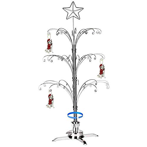 HOHIYA Metal Ornament Christmas Display Tree Rotating Stand 47inch (Silver)