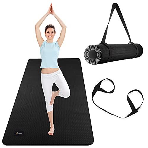 CAMBIVO Yogamatte Rutschfest, Gymnastikmatte extra breit(183cm x 81cm x 6mm), Fitnessmatte mit Tragegurt für Yoga, Gymnastik, Workout