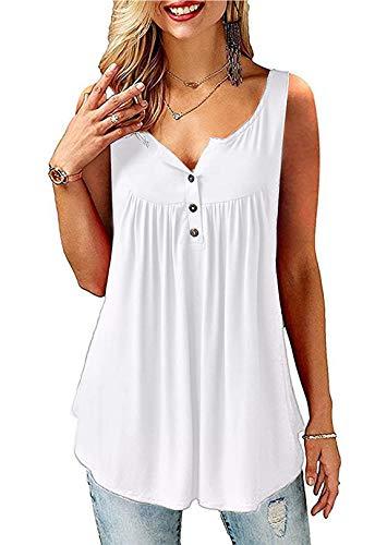 AMORETU T-Shirt Damen V-Ausschnitt Knopfleiste Bluse Solide Tunika Sommer Tops , Tanktop-weiß, XL/DE 50-52