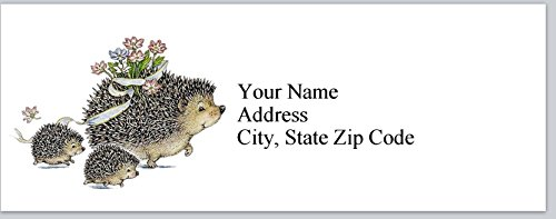 120 Personalized Return Address Labels Mama Hedgehog and babies (bx 188)