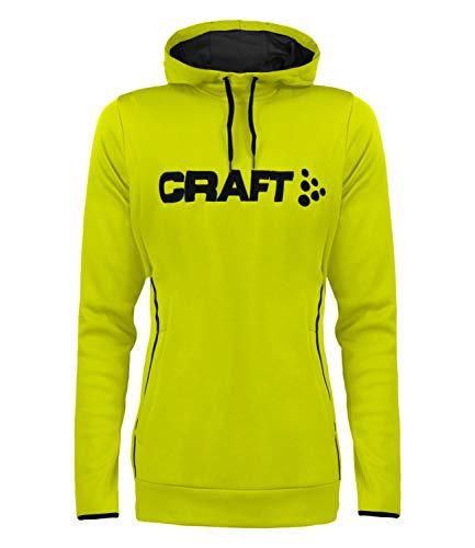 Craft Damen Hoody Funktionsshirt Pullover Midlayer Logo Hood 1904188, Farbe:Gelb, Größe:S, Artikel:-618675 neon Acid/Pine