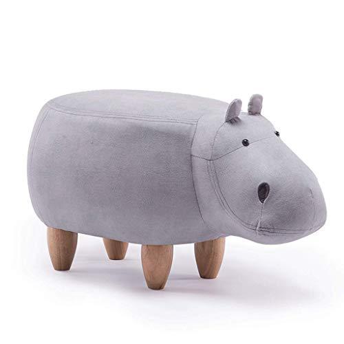 DaPengNB Kreative Karikatur-Weiß Hippo Schuhe Bank Sofa Bench Wohnzimmer Cartoon Massivholz-Hocker Test-Schuhe Hocker