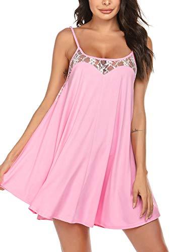 Ekouaer Nighties for Women Sexy Lingerie Sleeveless Lace Cami Satin Sleepwear Pastel Pink