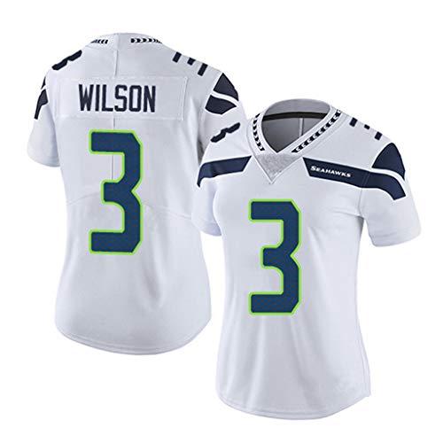 Seattle Seahawks Russell Wilson # 3, American Football-Trikot, Besticktes Fußballtrikot der Elite Edition Kurzarm-Sport-Top-T-Shirt-White-S