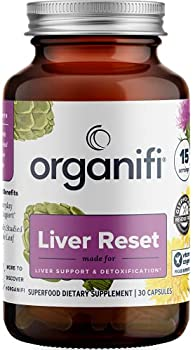 Organifi Liver Reset - Herbal Liver Detox Digestive and Immunity Support - 30 Capsules - Optimal Levels Balance - Helps with Proper Bile Production and Cellular Energy Production