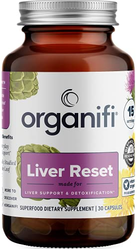 Organifi Liver Reset - Herbal Liver Detox, Digestive and Immunity Support - 30 Capsules - Optimal Levels Balance - Helps with Proper Bile Production and Cellular Energy Production