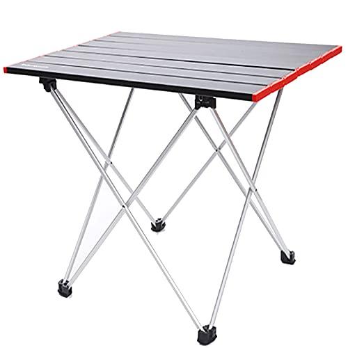 GQFGYYL-QD Mesa de Camping Portátil, Mesa de Camping de Aluminio, Luz para...