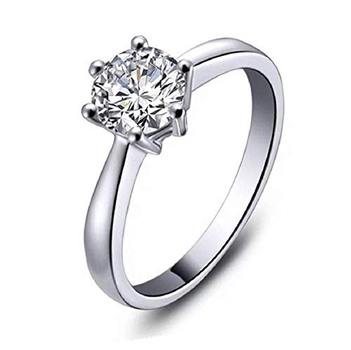 Finemall 1.0 Carat Classical Stainless Steel Solitaire Engagement Ring Round Brilliant Cubic Zirconia CZ 18k White Gold Wedding Engagement Ring (size 6)