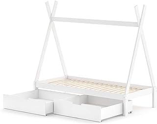 VitaliSpa barnsäng tipi hussäng vit natur säng barnhus tält säng låda 90 x 200 cm
