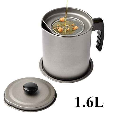 1.6L Cooking Oil Storage Grease Keeper, Grease Oil Strainer Container Pot with...
