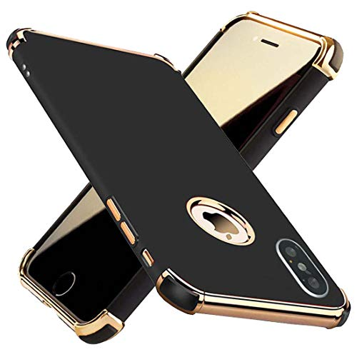 iPhone Xs Case, Kelier Ultra Slim Flexible iPhone X Matte Case, Gold Plated 3 in 1 Shockproof Luxury Cover Case for iPhone X/iPhone Xs (Black)
