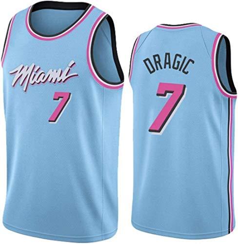 BPZ Herren-Basketball-Jersey - Heat # 7 Goran Dragic Jersey, Mesh-Basketball Jersey Swingman Ausgabe Klassisches Ärmel T-Shirt,L(175~180cm/75~85kg)