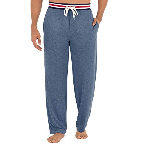 IZOD Men's Poly Sueded Jersey Knit Pant with Striped Waistband, Open Blue, Large